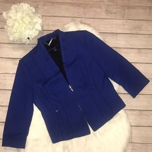 WHBM Blue Structured Blazer with Ruffle Detail